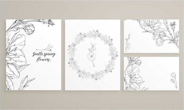 Set of cards with delicate spring flowers Premium Vector