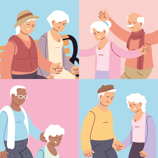 Set of cards with elderly couples, happy grandparents day Premium Vector