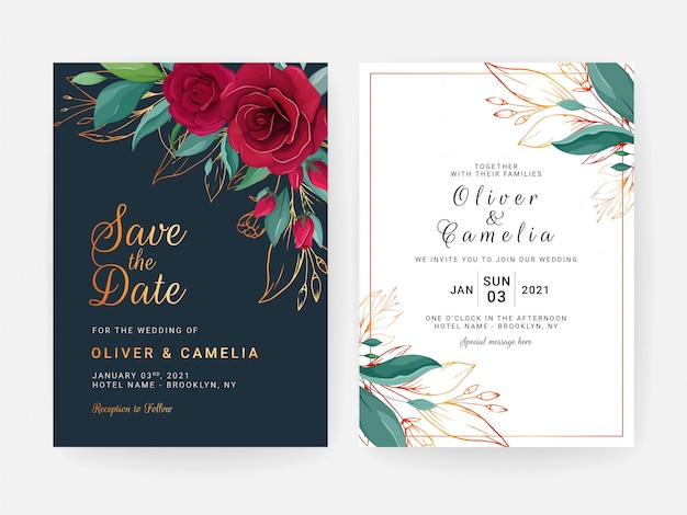 Set of cards with floral border. navy blue wedding invitation template design of red rose flowers an