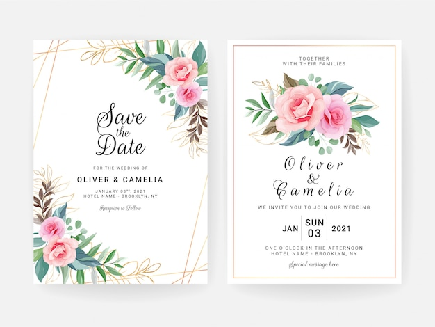 Set of cards with floral decoration. elegant wedding invitation template design of peach rose flower