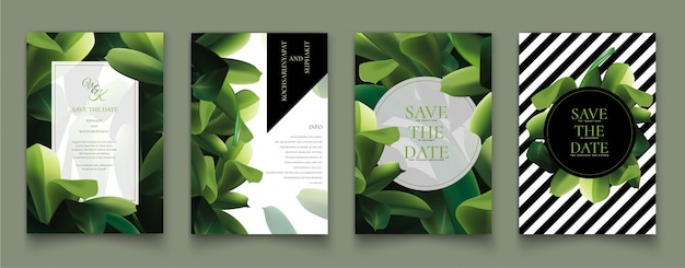 Set of cards with the green leaves. Premium Vector