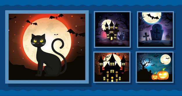 Set di carte con scene di halloween Vettore gratuito
