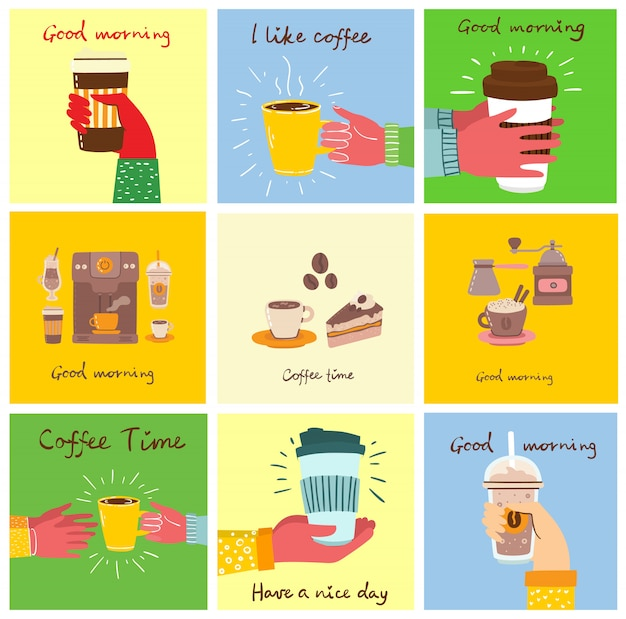 Set of cards with hands hold a cup of hot black dark coffee or beverage, people drinking coffee with cake, with hand written text, simple flat illustration. Premium Vector