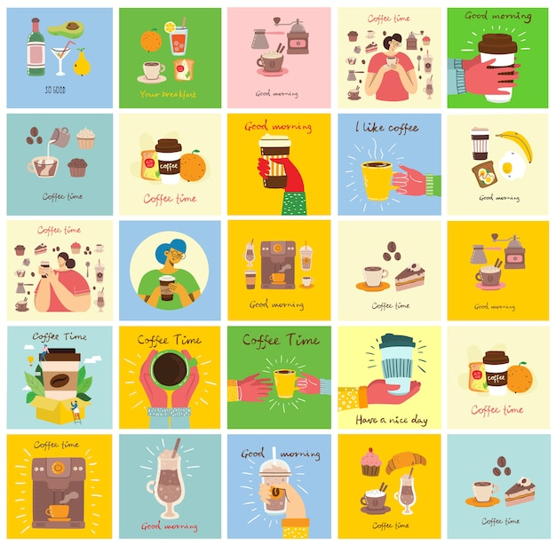 Set of cards with hands hold a cup of hot black dark coffee or beverage, with breakfast food, hand written text, simple flat colorful illustration. Premium Vector