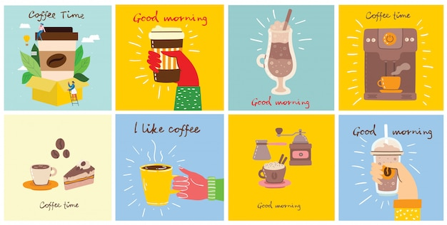 Set of cards with hands hold a cup of hot black dark coffee or beverage, with hand written text.. Premium Vector