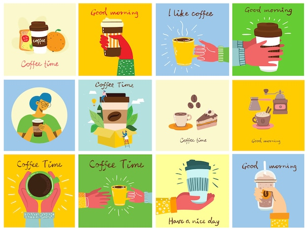 Set of cards with hands hold a cup of hot black dark coffee or beverage, with hand written text. Premium Vector