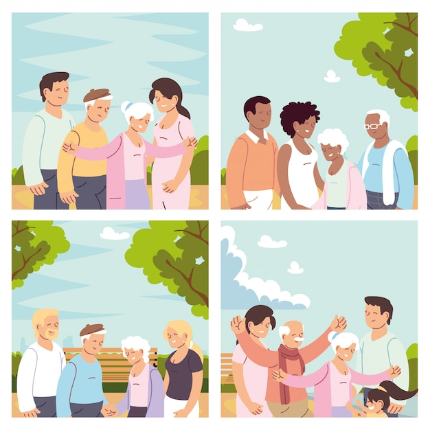 Set of cards with happy families, grandparents day Premium Vector