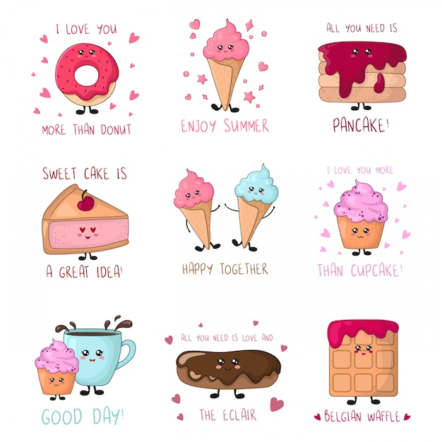 Set of cards with kawaii sweet food - cakes, ice cream, donut Premium Vector