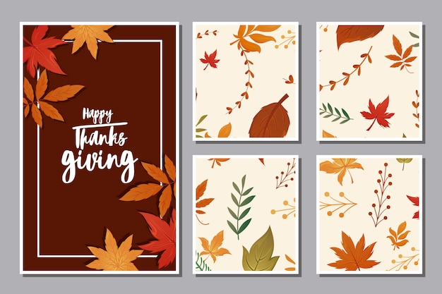 Set of cards with label happy thanksgiving and autumn leaves Premium Vector
