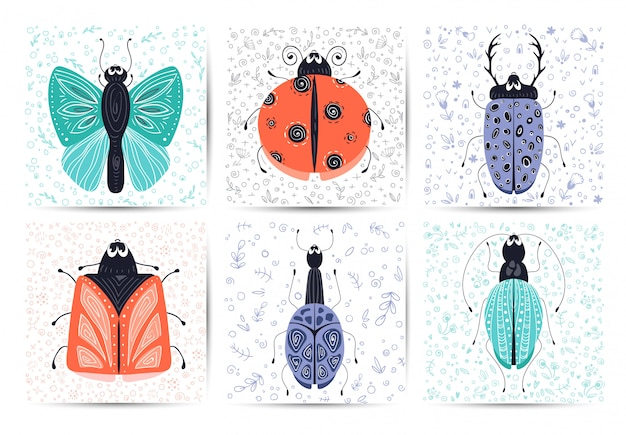 Set of cards with vector cartoon bug or beetle, flat Premium Vector