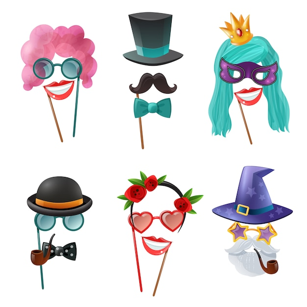 Set of carnival accessories Free Vector