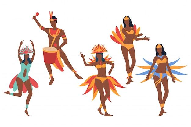 Set of carnival dancers. dark skinned man and women Free Vector