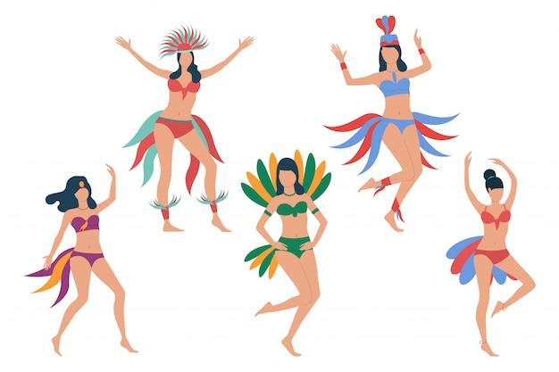 Set of carnival dancers Free Vector