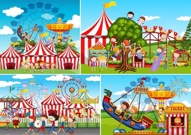 A set of carnival fun fair Premium Vector