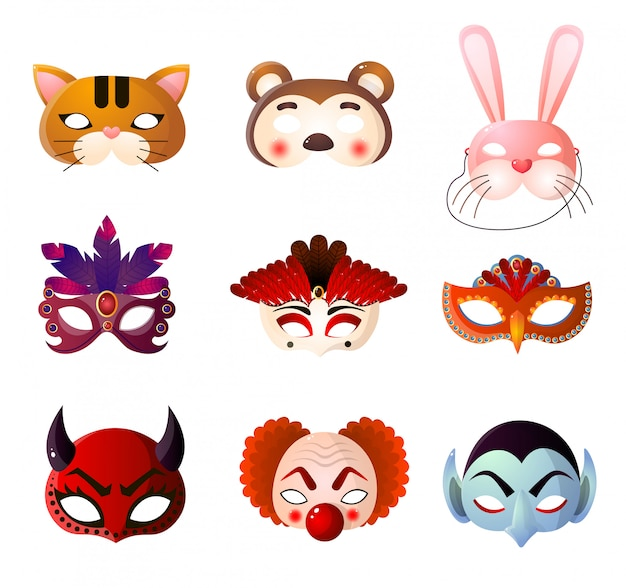 Set of carnival, halloween and animals masks  on white background Premium Vector