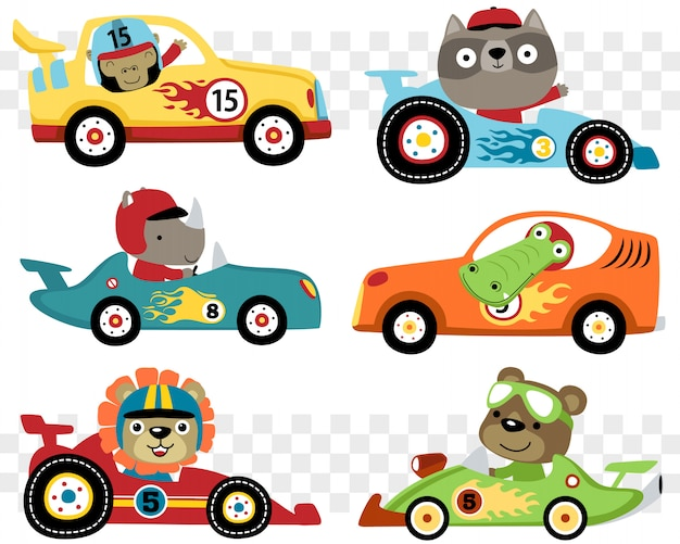 Set of cars race cartoon with funny racer Premium Vector