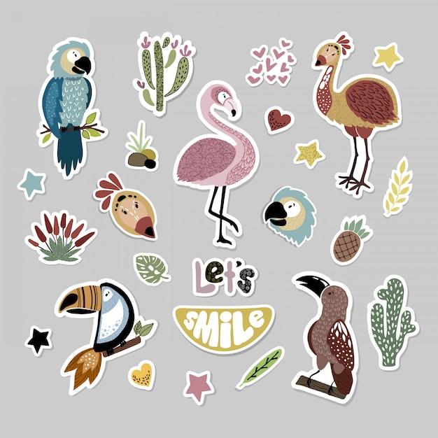 Set of cartoon african animals, stickers Premium Vector