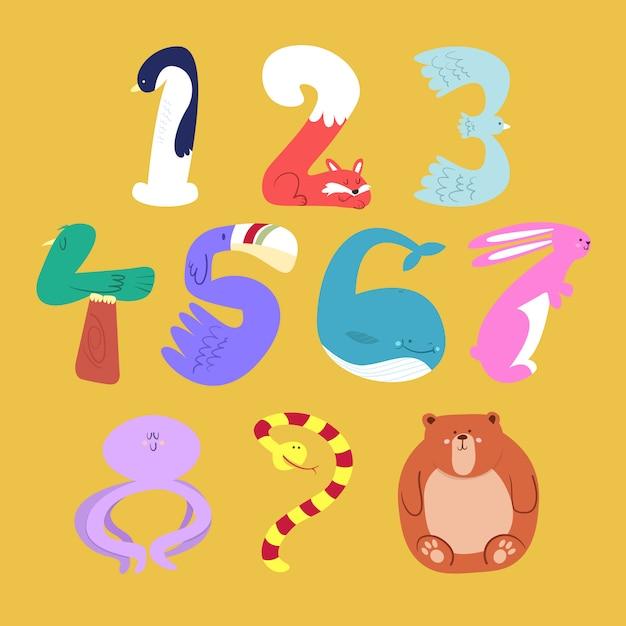 Set of cartoon animal numbers in flat style design Premium Vector