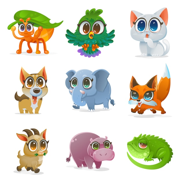 Set of cartoon animal, vector illustration Premium Vector