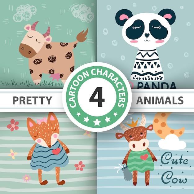 Set cartoon animals - funny illustration. Premium Vector