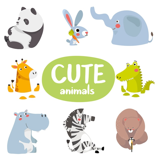 Set of cartoon animals Premium Vector