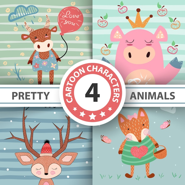 Set cartoon animals Premium Vector