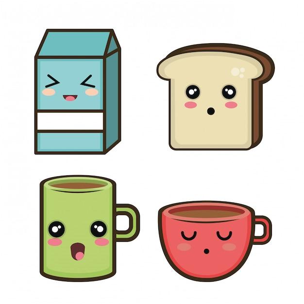 Set cartoon breakfast design Premium Vector