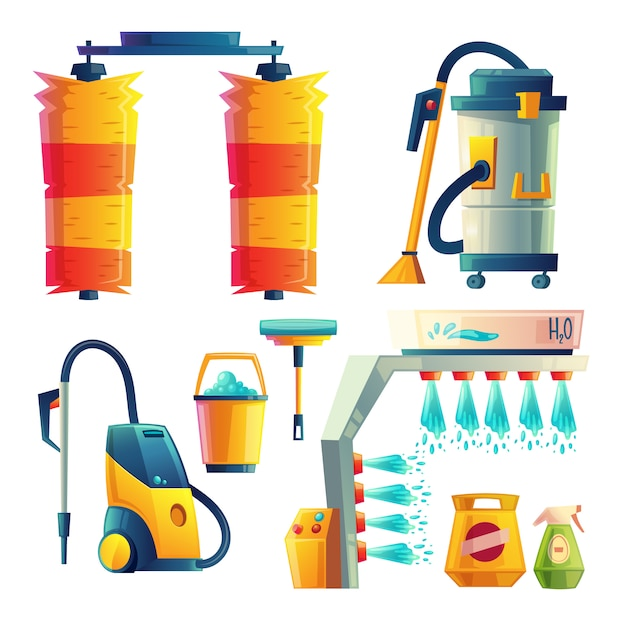 Set of cartoon bright car washing elements. automobile service for cleaning transport Free Vector