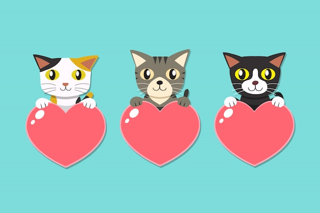 Set of cartoon cats with heart signs Premium Vector