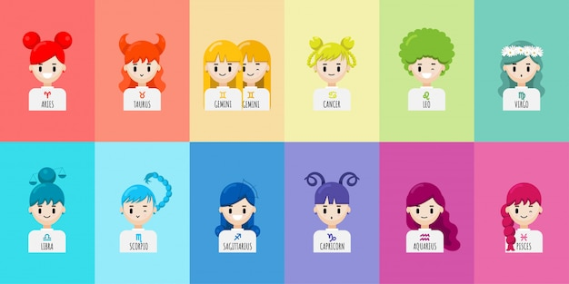 Set of cartoon character zodiac girls Premium Vector