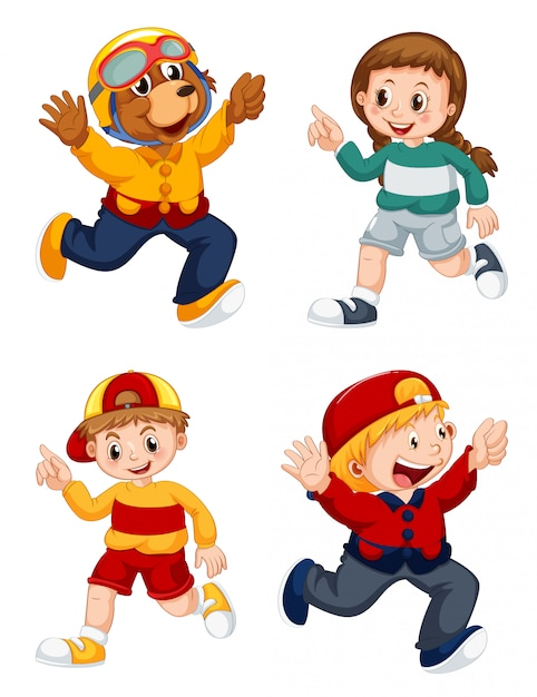Set of cartoon character Free Vector