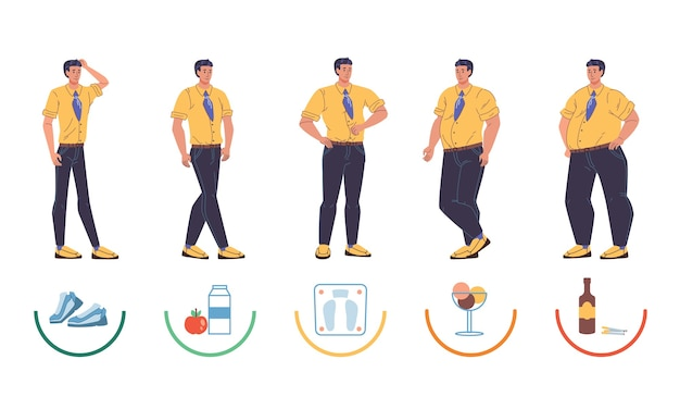 Set of cartoon  characters of different body size, thin and fat in various poses.