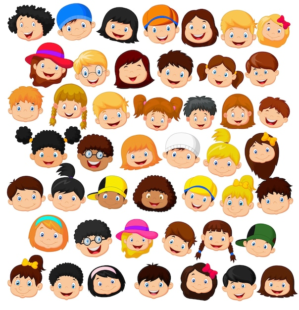 Set of cartoon children head Premium Vector