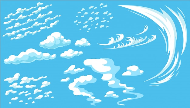 Set of cartoon clouds in blue panorama sky. Free Vector