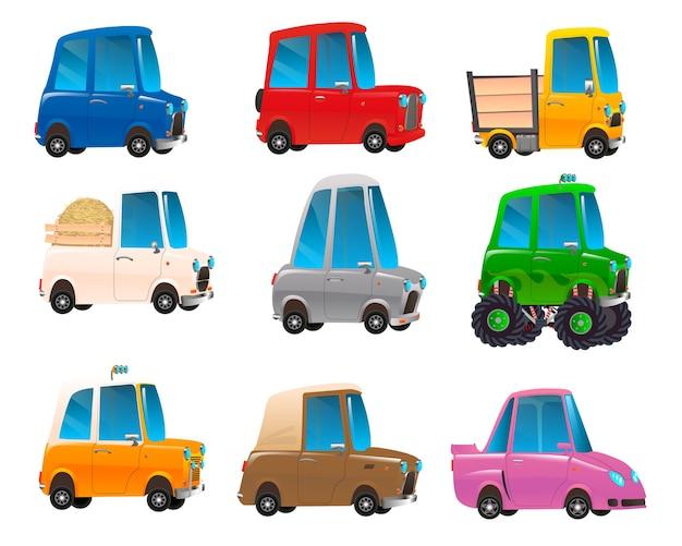 Set of cartoon colored cars Premium Vector