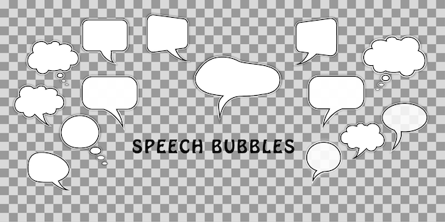 Set of cartoon comic dialog speech bubbles isolated transparent Premium Vector