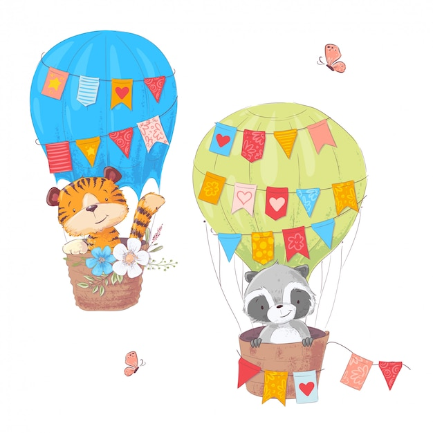 Set of cartoon cute animals lion and raccoon in a balloon with flowers and flags Premium Vector