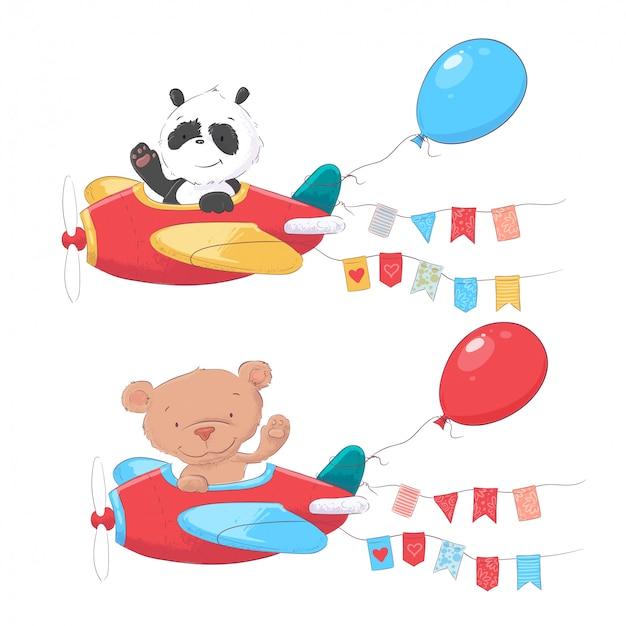 Set of cartoon cute animals panda and bear on airplanes kids clipart. Premium Vector