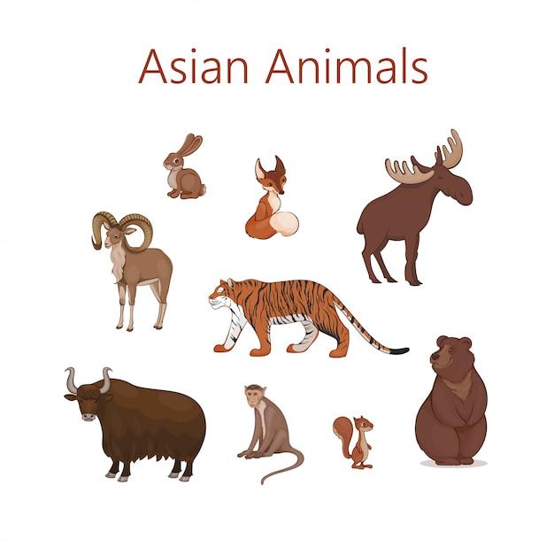 Set of cartoon cute asian animals. hare, fox, squirrel, elk bear urial tiger yak macaque Premium Vector