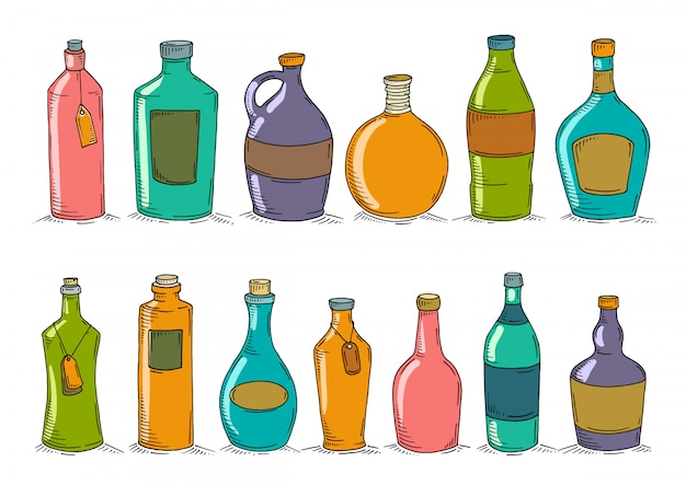 Set of cartoon doodle bottles. Premium Vector
