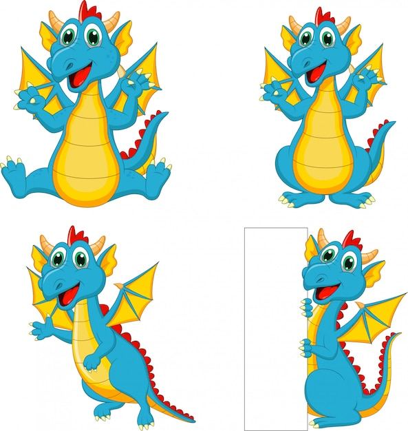 Set of cartoon dragons with blank sign Premium Vector