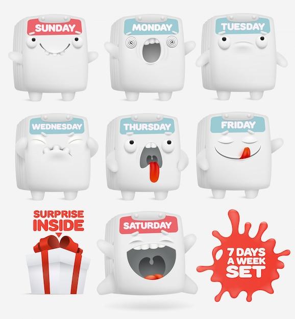 Set of cartoon emoji calendar characters. Premium Vector