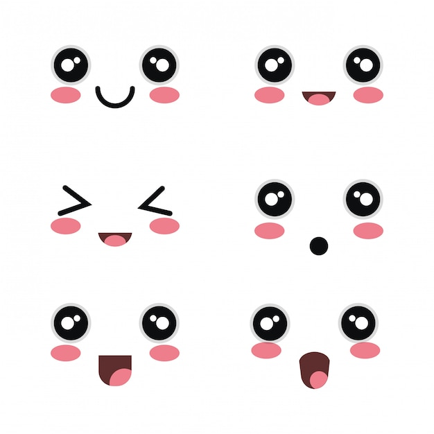 Set cartoon faces white background design Premium Vector