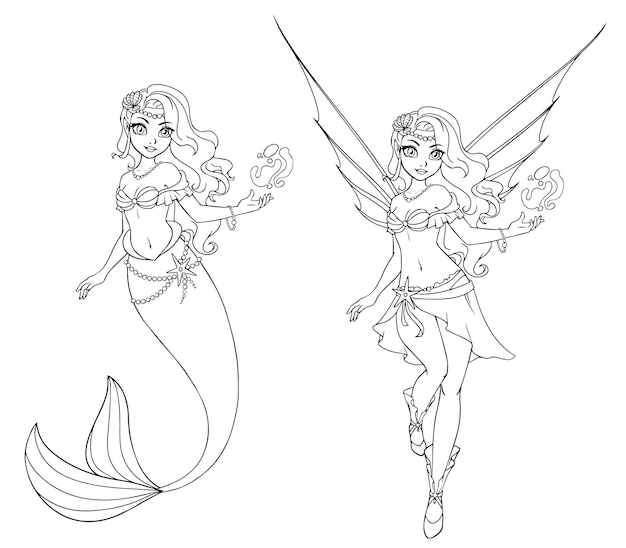 Set of cartoon fairy and mermaid. outlined for coloring book isolated on a white background. hand drawn doodle illustration. Premium Vector