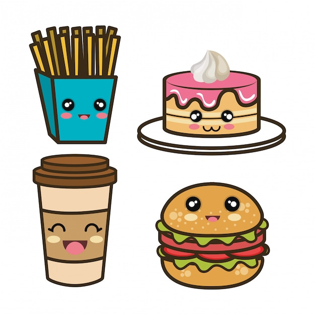 Set cartoon fast food design Premium Vector