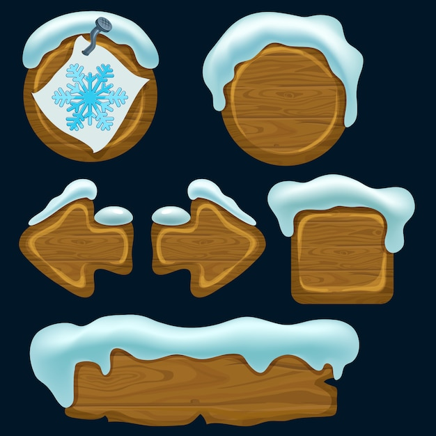 Set of cartoon game wooden panels. Premium Vector