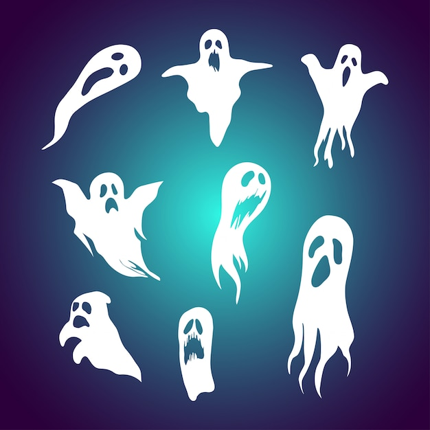 Set of cartoon ghost illustration with spooky face Premium Vector
