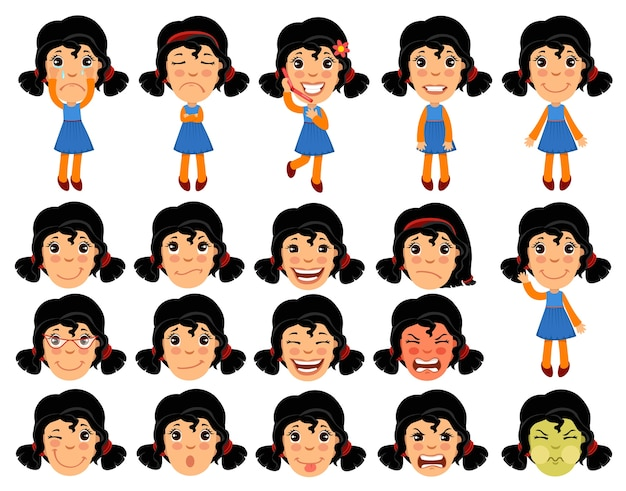 Set of cartoon girl character for animation. Free Vector