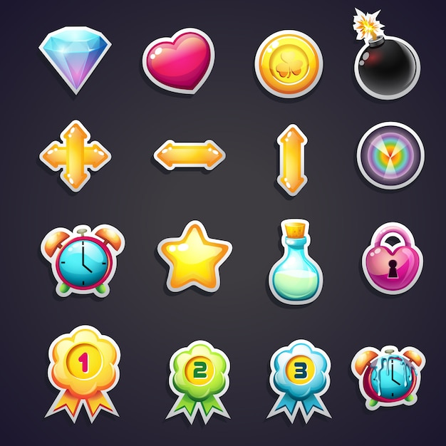 Set of cartoon icons for the user interface of computer games Premium Vector