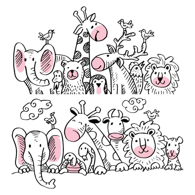 Set of cartoon illustration with cute animals. Premium Vector